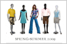 Photo editing example [Add to group]: This is an image of a mannequin line-up. One live female model needs to be inserted in middle of this group. The resulting image is meant to be the cover of a fashion catalog.