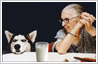 Glass of milk placed on table between dog and old lady to heighten the humour in this photo