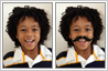 Photo editing used to place moustache to boy's face
