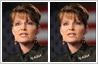 Photo retouching, photo editing used to remove glasses from Sarah Palin's face