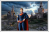 This is a photo manipulation example in which fictional character Superman appears to be visting the Red Sqaure ruins in the distant future.