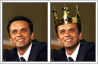 Photo editing sample in which a crown has been placed on a person's head. View 'before & after' pictures.