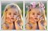 Children retouching services. Your child with a flower crown in a photo