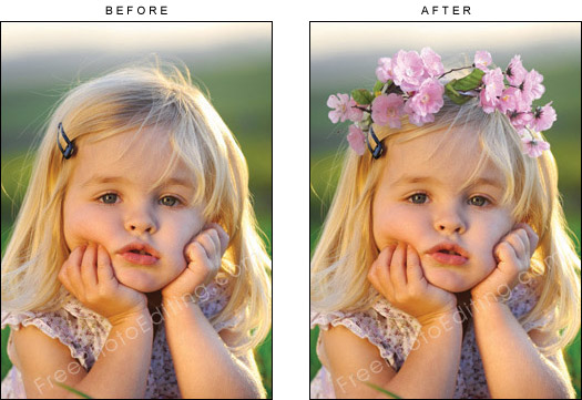 Add Flower Crown To Picture Online Photo Editor Children Retouching Services Elements Pics