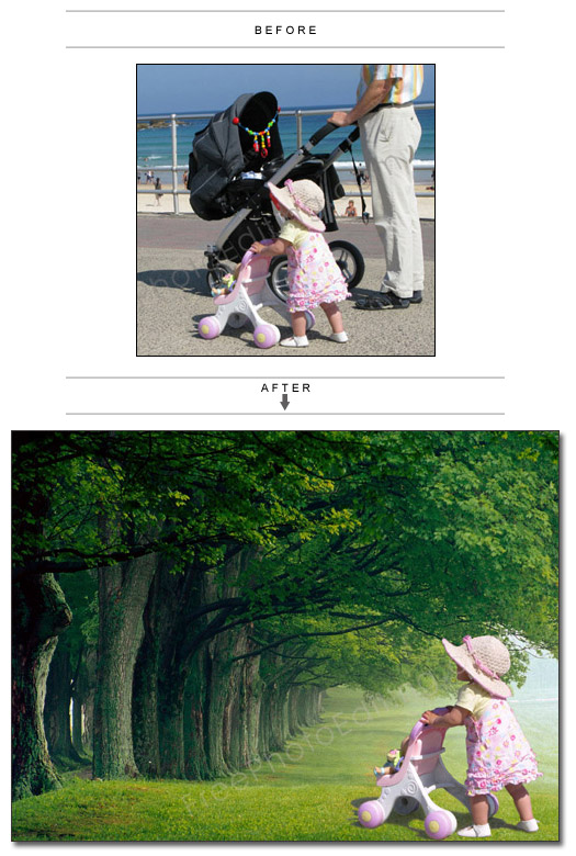 Add scenic background to children 39 s photos to create - Nature wallpaper editor ...