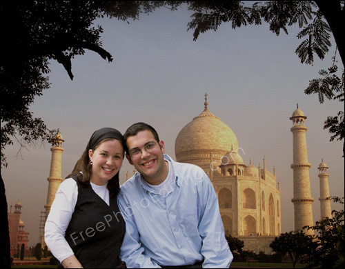 Couple placed against Taj Mahal background, days ahead of their actual ...