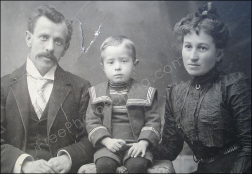 Carelessly stored old family photo that has scratches and tears  Needs    Old Damaged Family Photos